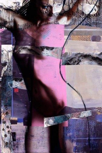 "Pink woman 2014 29,52""x 19,68""/75x50cm mixed media pigment print on wood"
