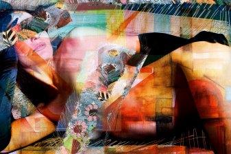 "Lascive woman 2014 29,52""x 19,68""/75x50cm mixed media pigment print on wood"