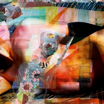 "Lascive woman 2014 29,52""x 19,68""/75x50cm mixed media pigment print on wood"