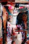 """Woman with red hearts 29,52""""x 19,68""""_Luz PerezOjeda"""